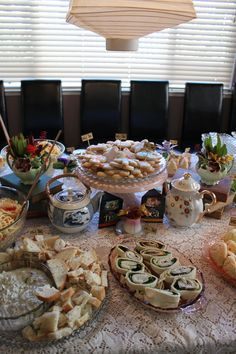Tea Party Bridal Shower Food ideas. This set up is to crowded but the food looks yummy