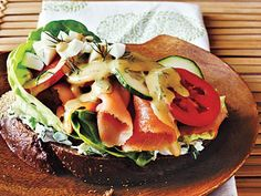 Open-Faced Smoked Salmon Sandwich | This sandwich is basically a riff on Hawaii's beloved lomi-lomi salmon, a salad of salted fish and tomatoes.