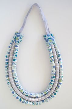 Fair Trade - Long Pale Blue & White Three Strand Necklace (Baby Friendly)