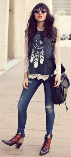 Lace long sleeves under tank