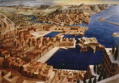 F. Martinuzzi, Port Analogue, aq.60x90, 1986. Composé de fragments isolés au Musée des plans-relief.