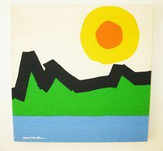 Gotcha Modern!: 1970s Bob Van Allen Modernist Screen Print - Mountain Scene