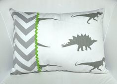 Child's Dinosaur and Chevron Pillow Cover / Cushion Cover-charlies room