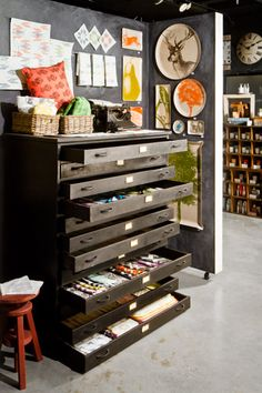 Flat storage drawers for fabric. Great space!