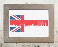 London Skyline against British Flag High Resolution by lorddudleys, $29.99
