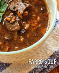 Farro Soup with Mushrooms // wishfulchef.com