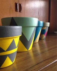 Mixed Geometric Painted Planters Clay Pot Crafts - Plant Pot - Ideas of Plant Pot - Mixed Geometric Painted Planters Clay Pot Crafts Flower Pot Art, Flower Pot Design, Clay Flower Pots, Flower Pot Crafts, Clay Pot Crafts, Clay Pots, Paint Garden Pots, Painted Plant Pots, Painted Flower Pots