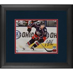 """Brandon Saad Columbus Blue Jackets Fanatics Authentic Framed Autographed 8"""" x 10"""" Blue Jersey Stopping Photograph"""