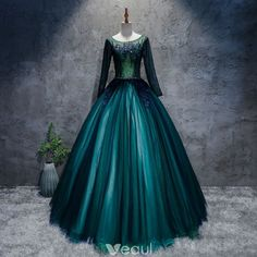 Classic Dark Green Prom Dresses 2017 Ball Gown Lace Flower Crystal Scoop Neck Long Sleeve Floor-Length / Long Formal Dresses Unfathomable Chance or Four Seasons Dark Green Prom Dresses, Grad Dresses Long, Prom Dresses 2017, Ball Dresses, Ball Gowns, Dresses With Sleeves, Formal Dresses, Formal Prom, Dress Prom