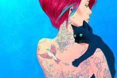 Cat tattoo bird