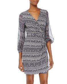 TA3YJ Diane von Furstenberg Sigourney Printed Wrap Dress, Moroccan Ditsy Midnight