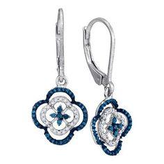 1/3CTW-Diamond BLUE MICRO-PAVE EARRING