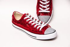 3e2d2c855e3c Sequin - Red Canvas Customized Converse® Low Top Sneakers Tennis Shoes with Silver  Glitter Toes by Princess Pumps