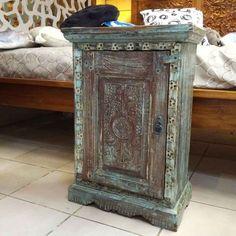 petit meuble indien chevet bleu sculpt inde 1602 052