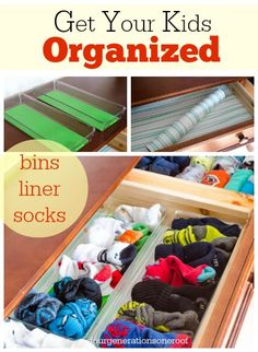 Are your kids drawers a mess? Mine are so I picked up a few inexpensive kitchen bins from @HomeGoods  and they worked perfect for the sock drawer! #organization #kids www.fourgenerationsoneroof.com