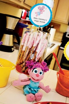 DIY Sesame Street Birthday Party Sesame Street Birthday food Abby Cadabby magic wands chocolate covered pretzel sticksSesame Street Birthday food Abby Cadabby magic w. Second Birthday Ideas, Happy Birthday, Birthday Diy, 3rd Birthday Parties, Birthday Recipes, Birthday Celebrations, Card Birthday, Birthday Quotes, Seasame Street Party