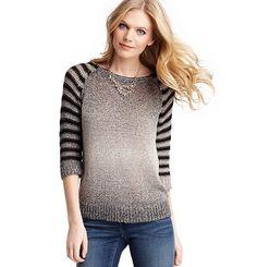 Ombre Stripe 3/4 Sleeve Cotton Sweater