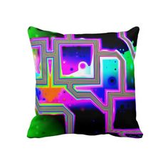 Window into the Universe– Magenta  Cyan Intersect Pillow #PODpinparty #dianeclancy