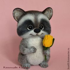 *NEEDLE FELTED ART ~ Animal toys, handmade.  Fair Masters - handmade.  Buy Enotik Luka.  Handmade.  Grey, raccoon felting wool