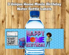 3 Home Water Bottle Labels Home Movie Water Bottle Wrappers download print Dreamworks Home Birthday Decoration Birthday Party Favor by InstantBirthday on Etsy