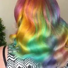 Mesmerizing soft pastel rainbow waves by @ceriseshairartistry using our colors #lunartides #rainbowhair #pastelhair Undercolor Hair, Wengie Hair, Unicorn Hair Color, Underlights Hair, Hair Streaks, Hair Color Dark, Hair Colour, Mermaid Hair, Dream Hair