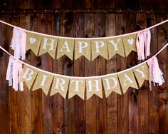 Pink & Lace Burlap Happy Birthday Banner for Baby Girl First Birthday Party Decoration or Rustic Photo Prop by MsRogersNeighborhood on Etsy https://www.etsy.com/listing/239794861/pink-lace-burlap-happy-birthday-banner