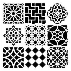 Mini marocain carreaux 6 x 6 artisans atelier pochoir (385S) - pour les biscuits, gâteaux, cardmaking, technique mixte, papier-arts, albums de découpures maquillage