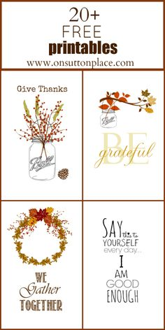 Free printables Thanksgiving 2013! Three seasonal printables plus one more just for fun! (These are so pretty!)