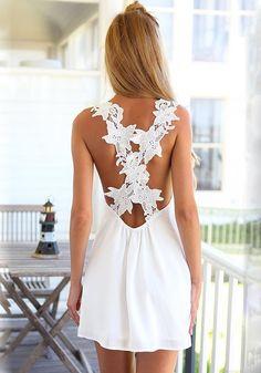 White Patchwork Lace Backless Chiffon Dress