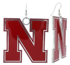 XXL Red Enamel Nebraska N Game Day Fish Hook Earrings