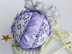 Lace ornament, quilted ornament, handmade ornament, fabric Christmas ornaments…