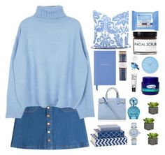 """""""Has to be Blue"""" by pups27 ❤ liked on Polyvore featuring Smythson, HUGO, Kurt Geiger, Marc Jacobs, OMEGA, Neutrogena, Fig+Yarrow, Lemnos, i am a and women's clothing"""