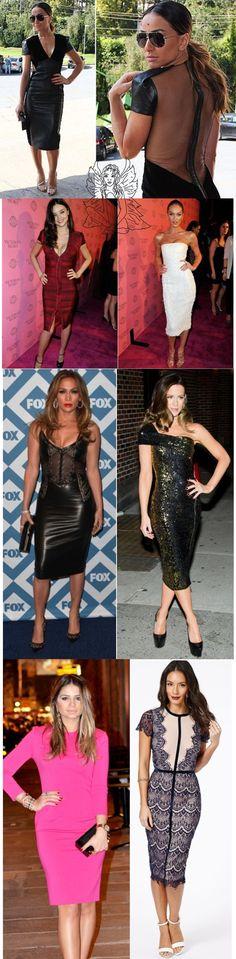 O que as famosas estão usando: vestido justo midi. Inspire-se #vestidomidi #dresses #celebridades