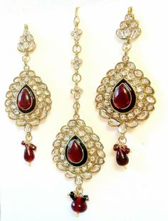 Asian & East Indian South Indian Jewelry Set Gold Plated Bridal Kundan Cz Necklace Earrings Tikka Pleasant To The Palate
