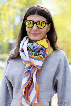 mirrored glasses + hermes silk scarf (Giovanna Battaglia)  how to tie a scarf gb style
