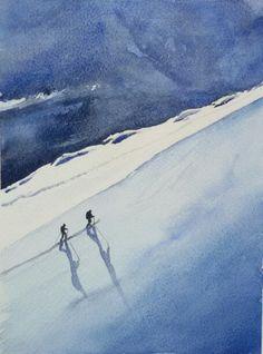 To the top #mountains #valais #switzerland #watercolours #winter #snow www.sandragianesini.com