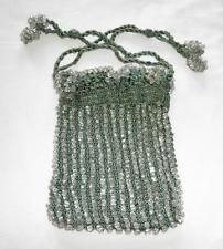 VINTAGE Evening Bag c 1915 Crocheted Drawstring Reticule w Crystal Glass Beads