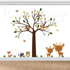Forest Tree Decal, Vinyl Tree Decal, Chevron Tree Decal, Deer Decals, Owl Tree, Dapper Foxes, Nursery Tree Decals,Vinyl Decals,Boys Wall Art