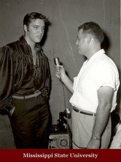 Jack Cristil interviews Elvis at the 1956 Mississippi-Alabama Fair, held in Tupelo. Elvis had just appeared on the Ed Sullivan show for the first time just a few weeks before the Fair, and was making a return trip to his hometown to perform.