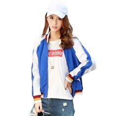 New Women Autumn Winter Bomber Jacket Splice Striped Cardigan Pockets Long Sleeve Zipper Baseball Coat Casual Outwear Blue
