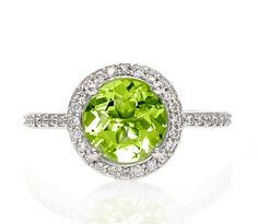 Platinum Peridot Ring Diamond Halo Engagement Ring by RareEarth