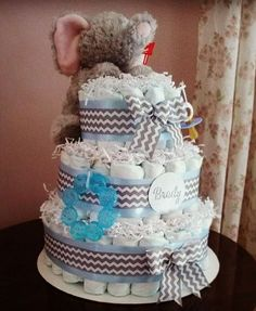 Whats prettier than a diaper caking sitting on the gift table at a baby shower? How surprised would a new mother be to come home from the hospital and find this adorable cake on her dining room table? Surprise the special mother-to-be in your life with a completely custom diaper cake made with love from one mom to another! The photos shown are from previous cakes. Your cake will look similar but you choose the theme and color of your cake. You can also add the babys name or even photos if…
