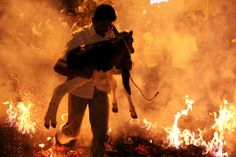 An Indian man carries a calf over a bonfire as part of the Makara Sankranthi or Pongal festival celebrations in Bangalore, India; a man wearing Darth Vader costume holds a placard as he stands on Thamrin Street near the scene of a gun and bomb attack in Jakarta, and a young Indian girl peeps from behind a curtain at a temporary tent set up on the banks of Sangam in Allahabad, India, are some of the photos of the day. (AP/EPA/Reuters)