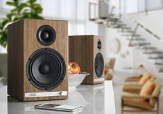 Audioengine (Walnut) Wireless speaker system with aptX-HD Bluetooth® at Crutchfield Wireless Stereo Speakers, Powered Speakers, Sound Speaker, Hifi Audio, Monitor Speakers, Audiophile, Turntable Setup, Bookshelf Speakers, Fantasy Characters