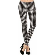 Black & White Houndstooth Plush Velour Leggings ($23) ❤ liked on Polyvore featuring pants, leggings, patterned leggings, preppy pants, print leggings, black white pants and houndstooth leggings