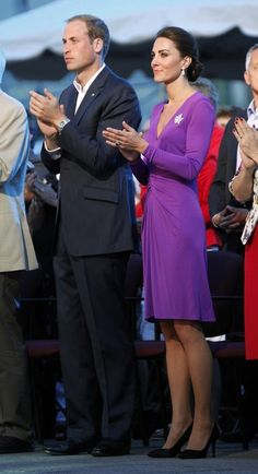 The Duke and Duchess on Canada Day, 2011. She is wearing a purple Issa London V-neck dress and Queen Elizabeth II's maple leaf brooch.