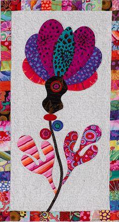 close up of flower # 23 Paper Piecing Patterns, Quilt Block Patterns, Applique Patterns, Applique Quilts, Quilt Blocks, Quilting Projects, Quilting Designs, Landscape Art Quilts, Laundry Basket Quilts