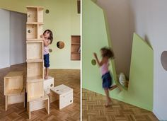Kita Loftschloss in Berlin designed by Baukind. Multifunctional - seats may become large building blocks.