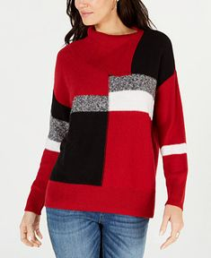 f11ae02bbc08 Style  amp  Co Colorblocked Envelope-Neck Sweater