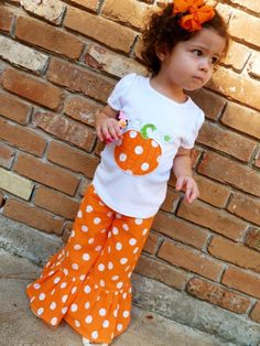 Pumpkin Applique Shirt and Matching Ruffle Pants